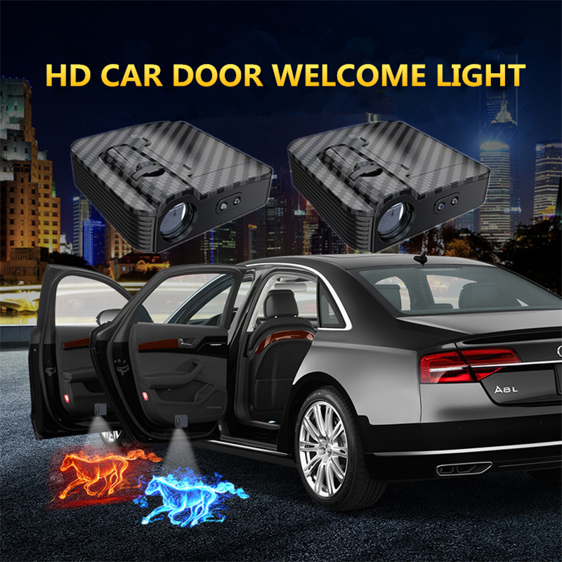 Carbon fiber ABS Intelligent HD Wireless Car Door Laser Projection Photo Punching Lamp Door Welcome Logo Ghost Shadow Led Lights