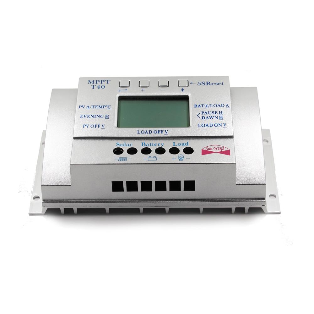 MPPT T40 40A regulador de carga Solar 12 V 24 V Auto LCD controlador de pantalla con carga doble temporizador de Control para el sistema de luz de calle - 3