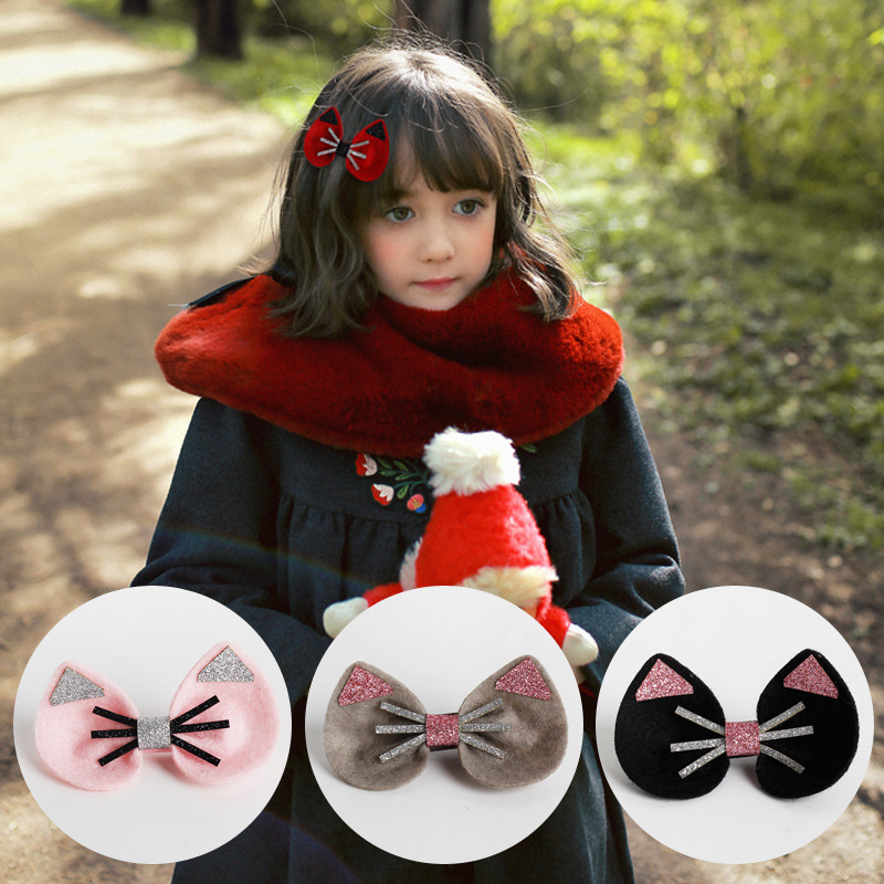 Korea Princess Shiny Cute Cat Shape Hair Clip Kitty Hairgrip Cotton Bows Hairpins Cartoon Hair Accessories
