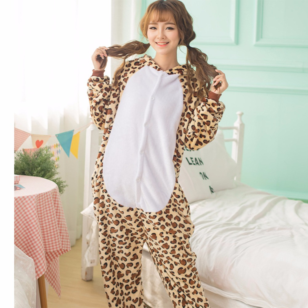 Adults Animal Pyjama Sets Cartoon Sleepwear Cosplay Zipper Women Men Winter Unisex Flannel Panda Unicorn Pajamas