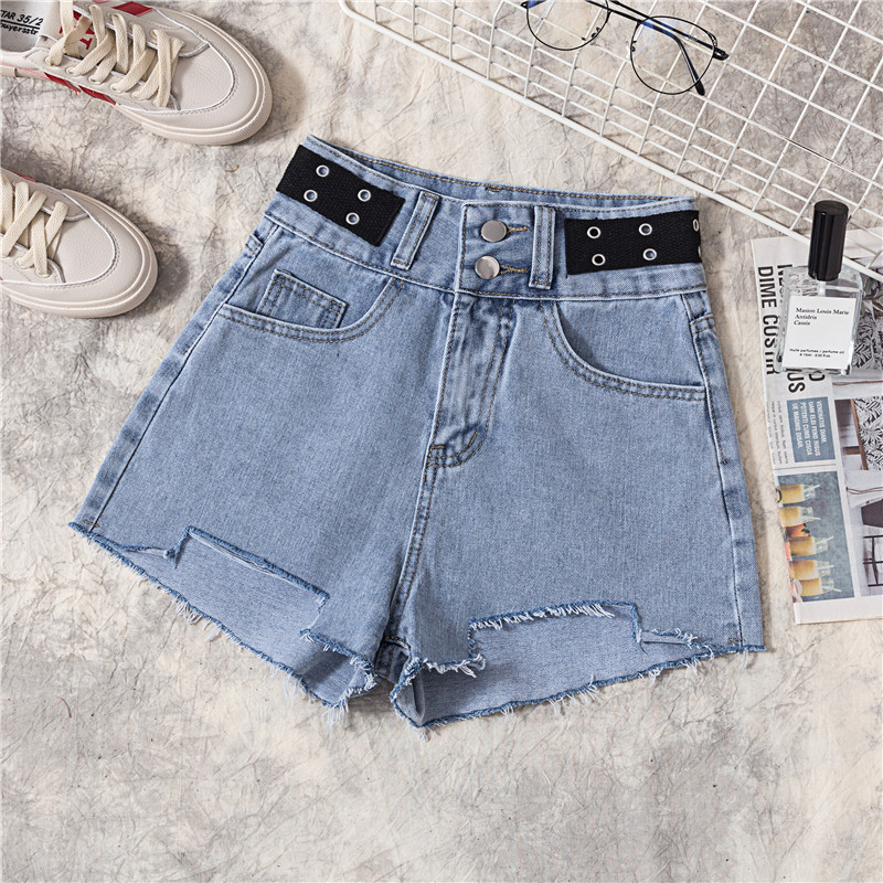 Women's Clothing Summer Denim Shorts Women Korean Loose Hole Torn Edge High Waist Jeans Womens Students Wide Leg Raw Hot Shorts Jeans Diversified In Packaging