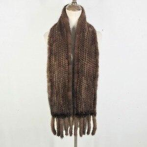 Image 2 - Vrouwen Real Mink Fur Sjaal 100% Echte Echte Mink Fur Uitlaat Goede Kwaliteit Groothandel En Detailhandel 2020 Echte Nerts Bont gebreide Sjaals