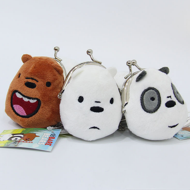 1pc Cute Three Bears Coin Bag Stuffed Plush Toy Kawaii Soft Purse Wallet For Girls And Kids Creative Three Bare Bear Gift Toy Wide Varieties