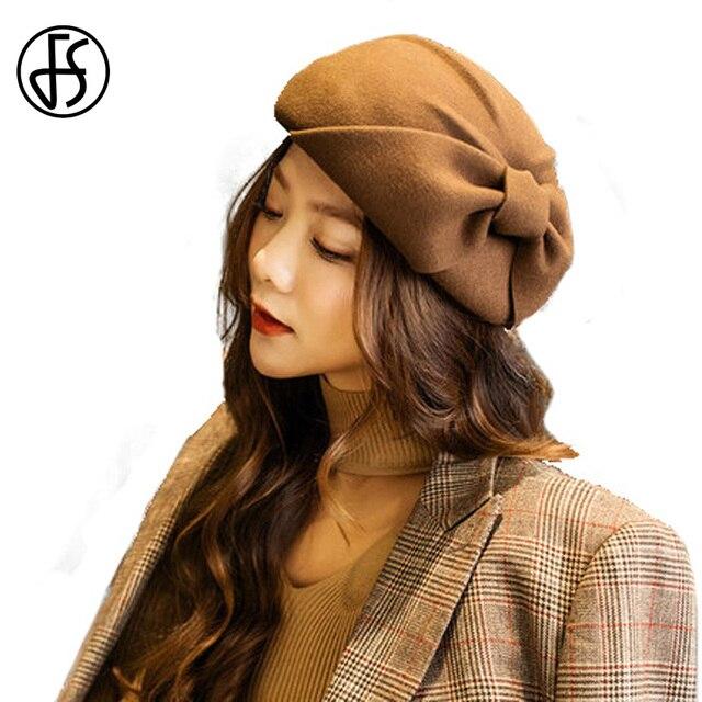 84843f9801961 FS Winter Ladies Fashion French Beret Hat For Women Australia Wool Black  Felt Fedora Female Bow Pillbox Hats Stewardess Cap