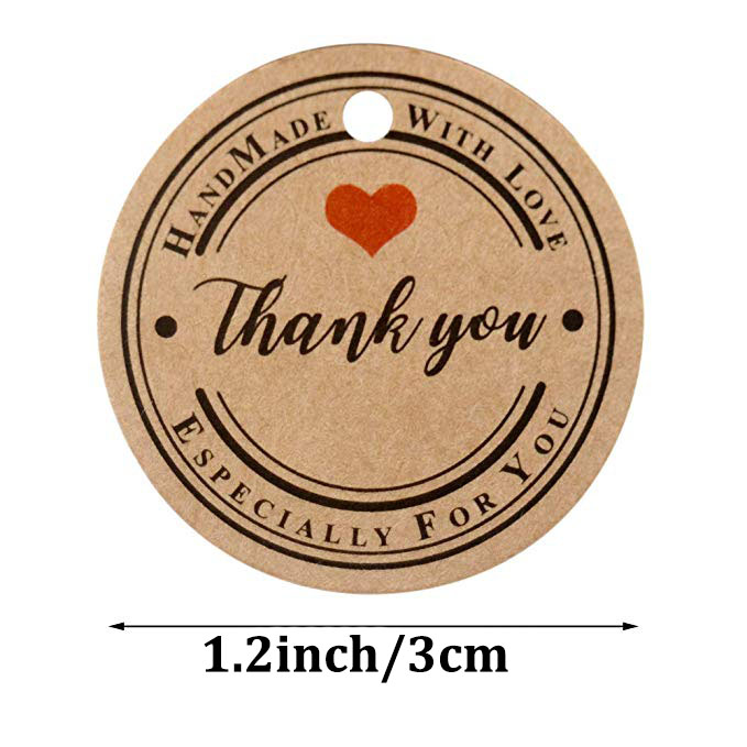 """Купить с кэшбэком 100pcs brown round """"thank you"""" tags for wedding party favors decoration tags Packaging Hang handmade paper Tags stationery"""