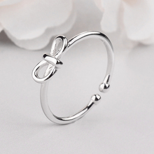 Hot Sale 925 Sterling Silver Bowknot Ring For Women Original Fine Jewelry Gift Open Adjustable Finger Ring