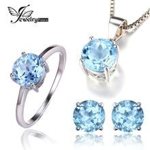 Jewelrypalace 6ct Natrual Azul Topacio Pendientes Anillo Colgante de Collar de Sistemas de La Joyería 925 de Plata Esterlina Sólida Ronda Marca de la Piedra Preciosa