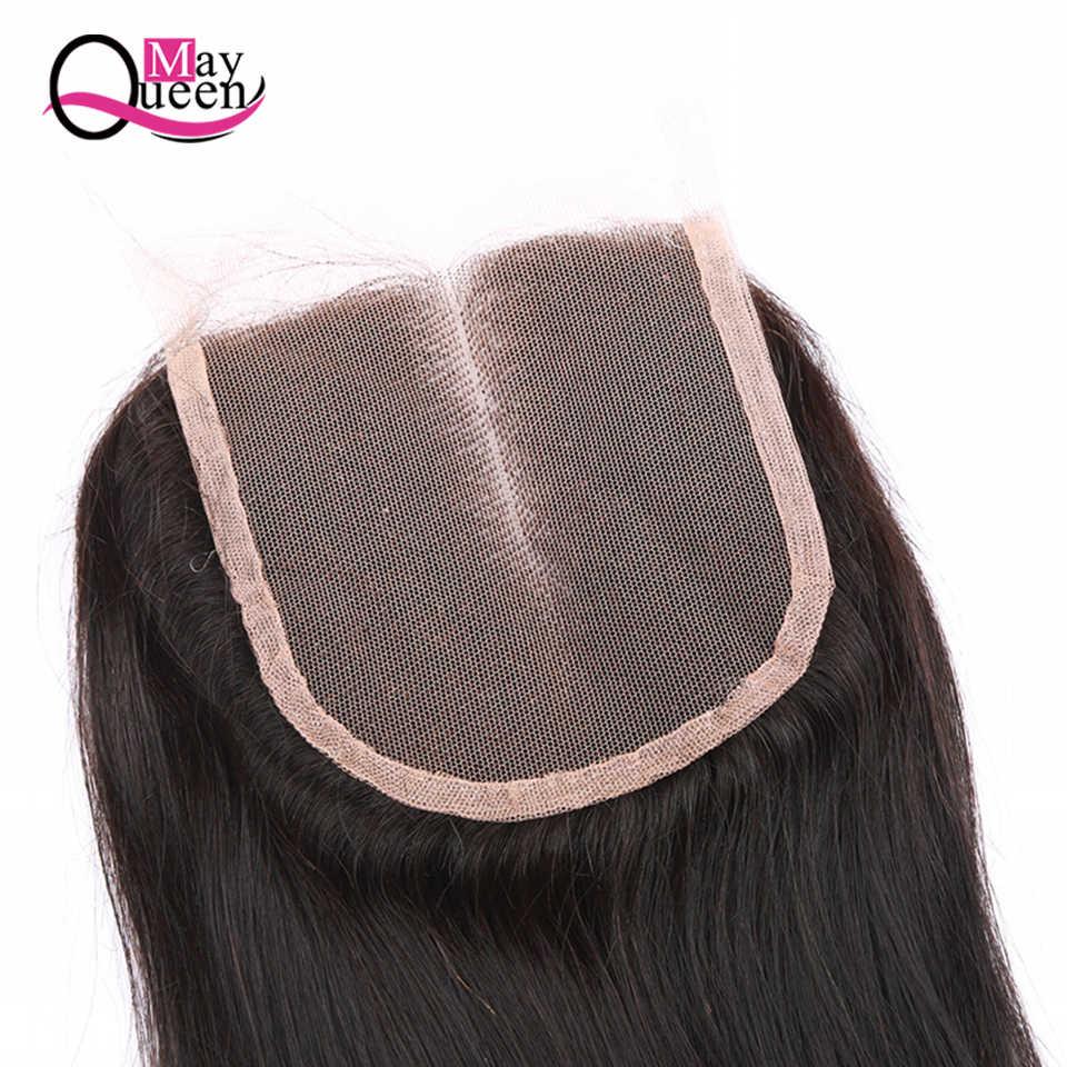 """Può Queen Hair Brasiliana Dei Capelli Umani Chiusura 4X4 Trasporto Mezzo Tre Parte Veletta nella chiusura 8 """"-20"""" Naturale colore Libero di Trasporto"""
