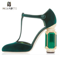 Prova Perfetto Мода Взлетно посадочной полосы стиль для женщин насосы драгоценный камень не сужающийся книзу массивный каблук круглый носок Ретр