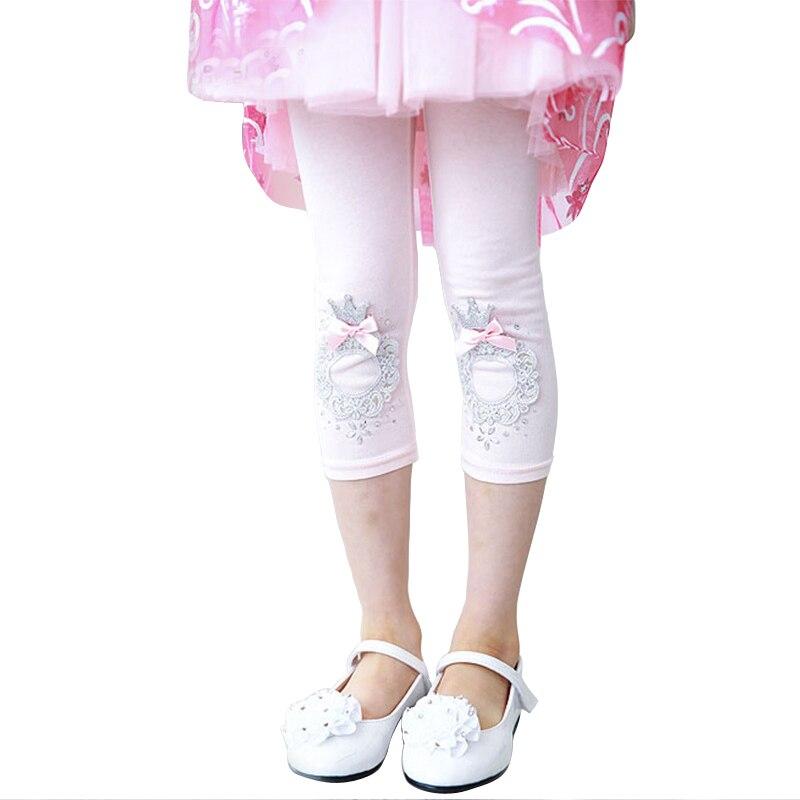 Zomer katoenen meisjes legging meisje kleding kalf-lengte boog - Kinderkleding