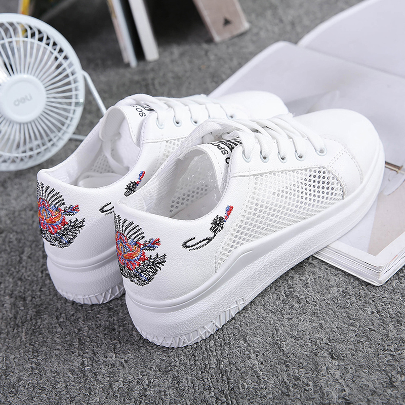 Women Casual Shoes Summer 2018 Spring Women Shoes Fashion Embroidered Breathable Hollow Lace-Up Women white Sneakers women creepers shoes 2015 summer breathable white gauze hollow platform shoes women fashion sandals x525 50