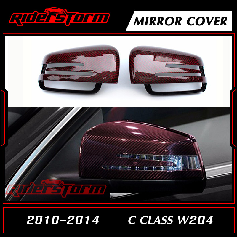 Carbon Fiber Rear View Mirror Cover Mirror Caps Door Side Wing for Mercedes Benz C Class W204 2014 2015+ Replacement Auto Parts