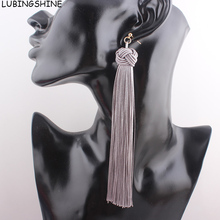 LUBINGSHINE Fringed Pompom Statement Earrings Women Ear Drop