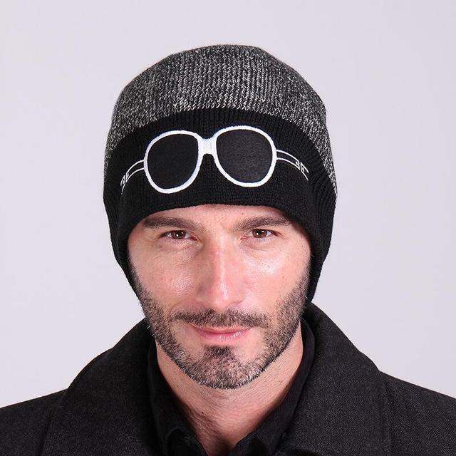 Beanies Knit Winter Hats For Men Beanie With Sunglasses Design Men s Winter  Hat Skullies Bonnet Warm d17c26a6e55d