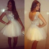 Short Perfect Open Back White Beading Crystal Prom Dress 2016 New Designed Homecoming Dress For Girls
