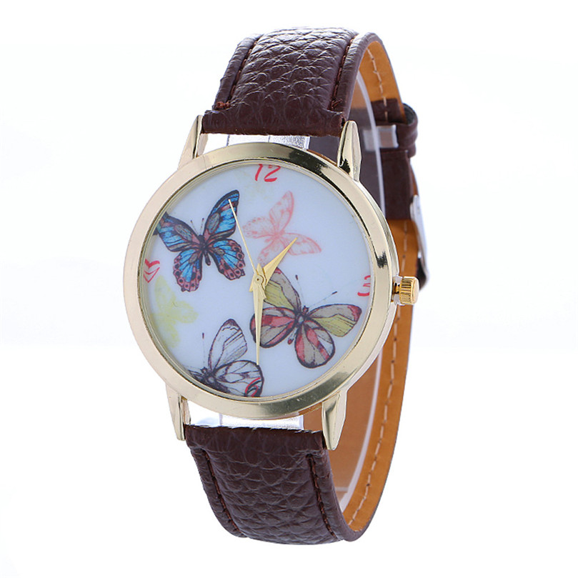 Womens Watch Relogio Feminino Butterfly Pattern Fashion Women Colored PU Leather Watch Bussiness Reloj Mujer New Gift P*21