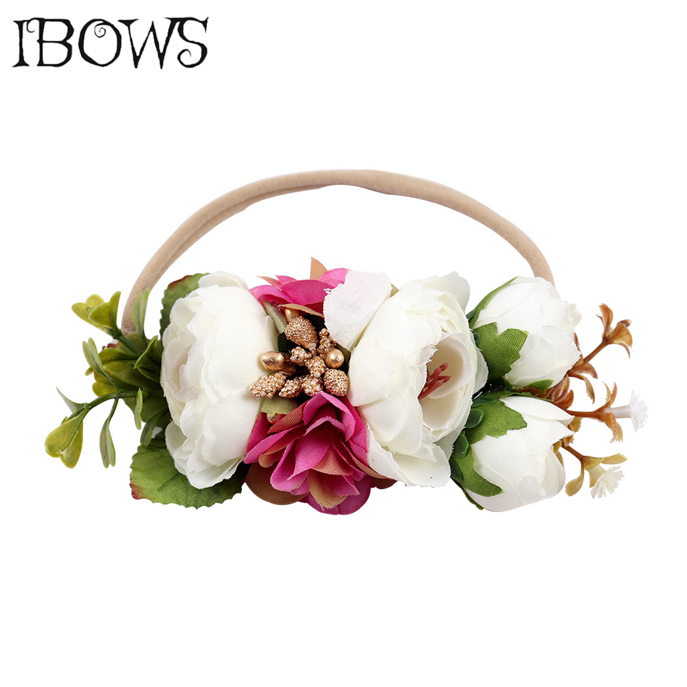 High Quality Flower Crown Headband Pearl Floral Hair Bows With Nylon Elastic Hair Bands For Kids   Headwear   Hair Accessories