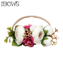High Quality Flower Crown Headband Pearl Floral Hair Bows With Nylon Elastic Hair Bands For Kids Headwear Hair Accessories(China)