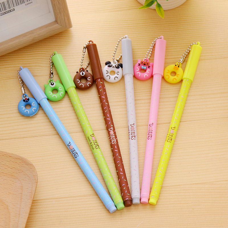 36 pcs/lot Lovely animal Donuts gel pens for girl Cartoon 0.38mm duck black ink pen for kids canetas material school supplies