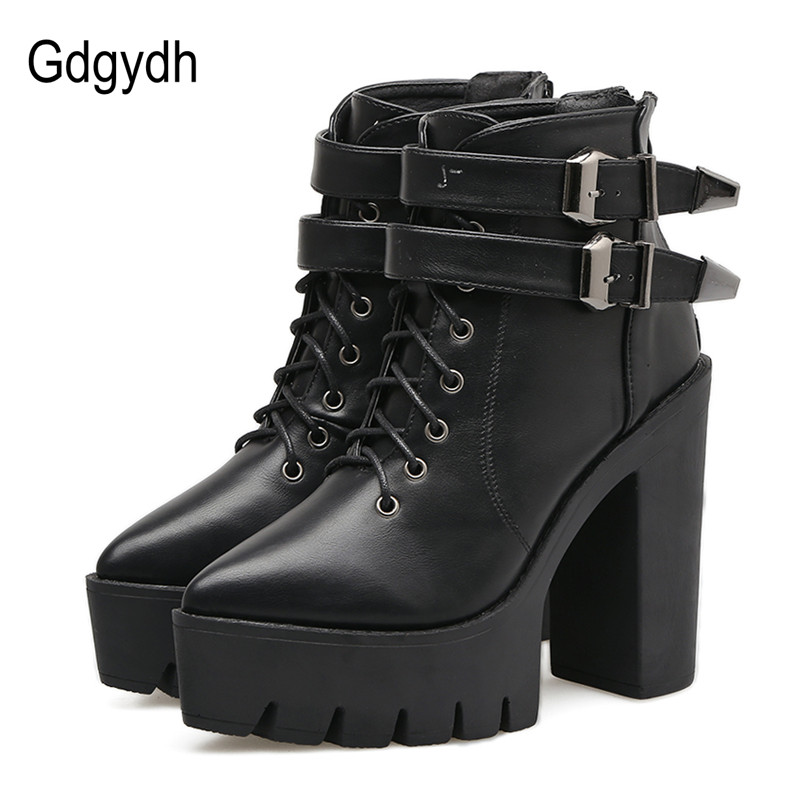 Gdgydh Autumn Ankle Boots for Women High Heels 2017 Fashion Pointed Toe Platform Buckle Lace Up Short Booties Black Ladies Shoes 2016 custom made fashion brown short ankle boots for women pointed toe lace up platform thin heels stiletto ladies buckle boots