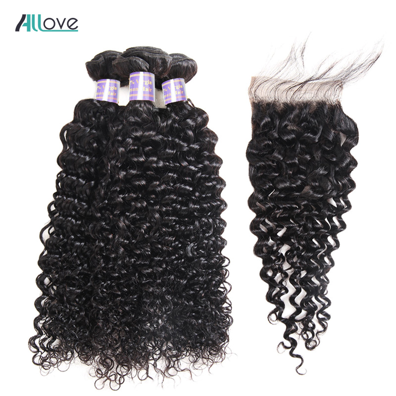 Alllove Malaysian Curly Hair Bundles With Closure Free Middle Three Part Closure With 3 Bundles Non