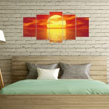 5 Pcs/Set Home Beauty Sunrise oil paint pictures Decorative canvas painting Living Room Wall Poster Without Frame(China)