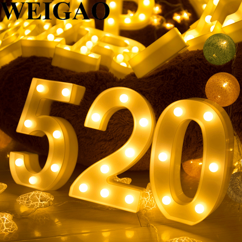 WEIGAO Birthday Party LED Lights Wedding Decoration Plastic LED Digital Self Standing Ni ...