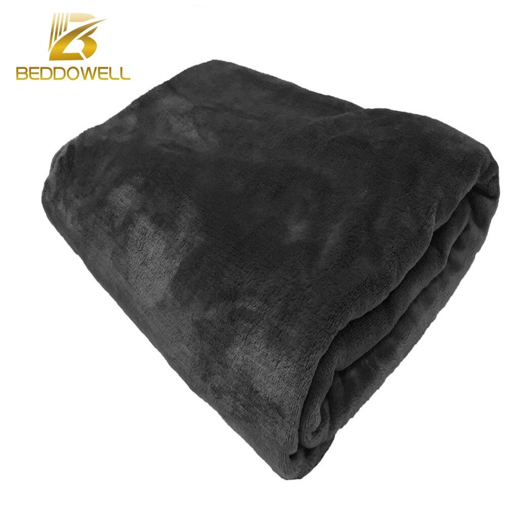 Beddowell Flanell Korallen Fleece Decke Solid Black Farbe Nerz Werfen Erwachsene Schal Plaid Volle Königin Größe Weiche Decken Auf Die bett