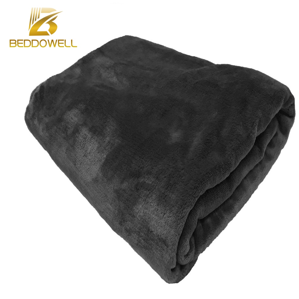 Beddowell Flannel Coral Fleece Blanket Solid Black Color Mink Throw Adult Shawl Plaid Full Queen Size