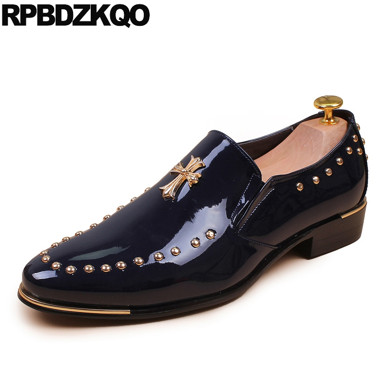 Prom Dress British Style Metal Wedding Loafers Slip On Stud Business Casual Men Shoes Nice Blue Italy Autumn Popular Spring стоимость