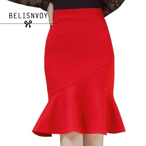 Bandage Faldas Mujer 2018 nueva llegada moda elegante alta cintura mujeres  Trabajo lápiz falda más tamaño Rojo Negro falda con ruffle en Faldas de La  ropa ... 6a34d3a30e83