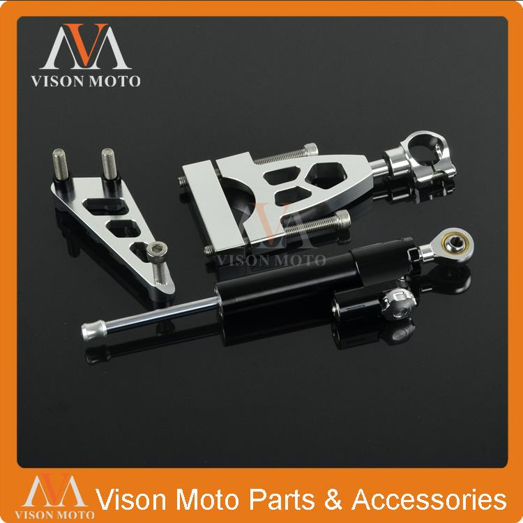 CNC Steering Damper Set Stabilizer With Bracket Assemblly For Honda CB400 VTEC 99 00 01 02 03 04 05 06 07 08 09 10 11 12 рычаги тросики и кабели для мотоцикла rctoper honda vtr1000f firestorm 98 99 00 01 02 03 04 05