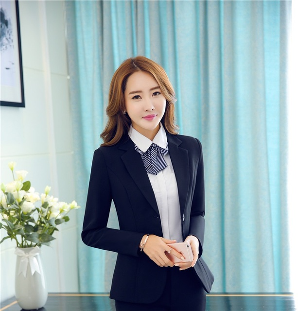 469f24572325 Spring Fall Long Sleeve Formal Uniform Design Ladies Tops Jackets Business Women  Blazer Coat Career Blaser Female Tops Clothes