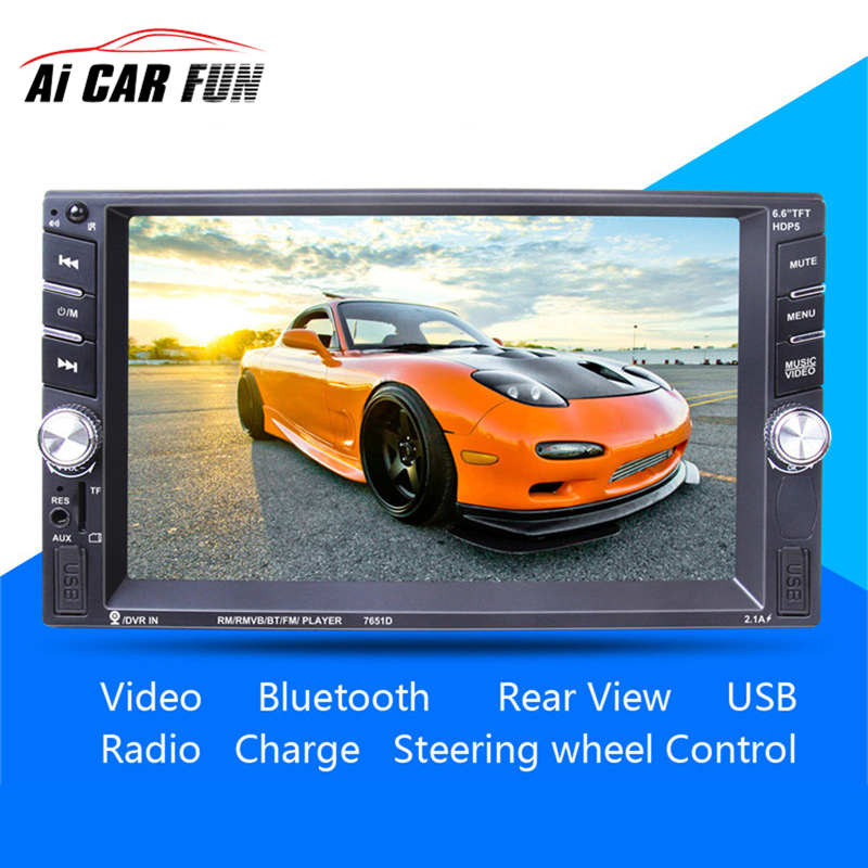 6.6 inch HD 2 Din MP5 MP4 Player Touch screen Car FM Radio stereo Bluetooth support rear camera 2 USB port FM  car radio mp5 mp4 player stereo fm video bluetooth 2 din 6 6 inch fm for android screen mirroring support rear camera dvr input