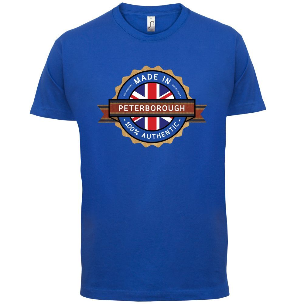 Made In PETERBOROUGH Mens T-Shirt - Town / City 13 ColoursPrint T Shirt Short Sleeve Hot Print