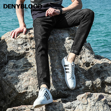 Denyblood Jeans Mens Black Denim Jeans Pants Stretch Slim Straight White Print Fashion High Quality Casual Pants 828609