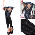 Fashion New 2016 Punk Sexy Faux Leather Stitching Embroidery Bundled Hollow Lace Black Leggings for Women Hot Sale