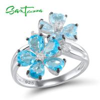 SANTUZZA Silver Blue Flower Ring For Women 925 Sterling Silver Show Elegant Temperament Cubic Zirconia Ring Fashion Jewelry