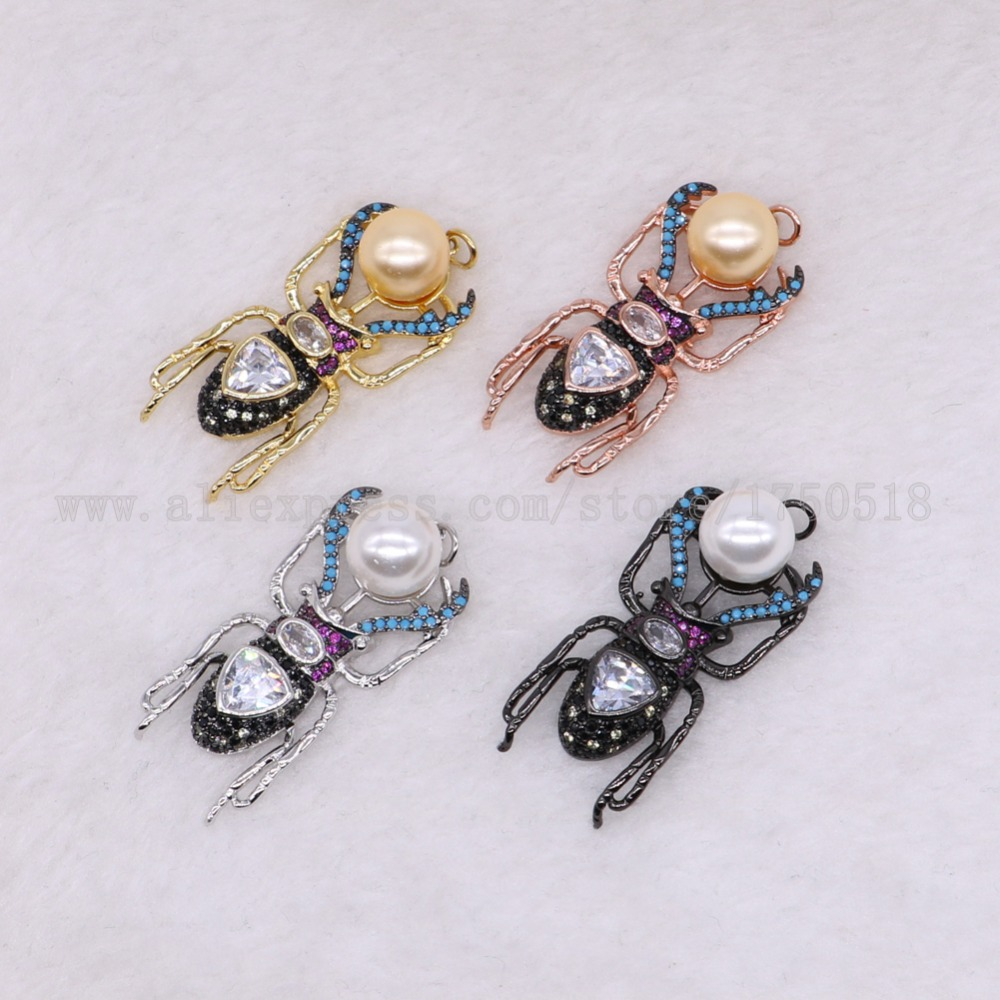 5 pieces bugs pendants beads for lady charm small size bugs jewelry making micro paved mix color pendants pets beads 2867 ...