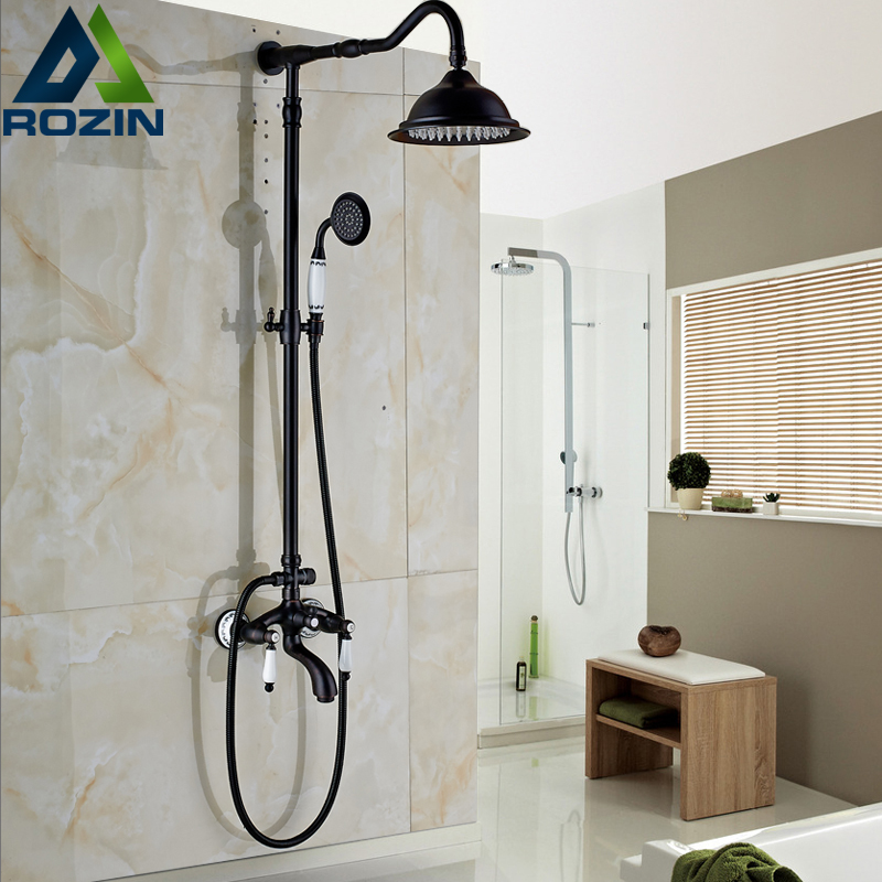 Oil Rubbed Bronze Wall Mount Shower Mixer Faucet Set with 8 Rainfall Shower Head Swivel Tub Spout Brass Hand Shower