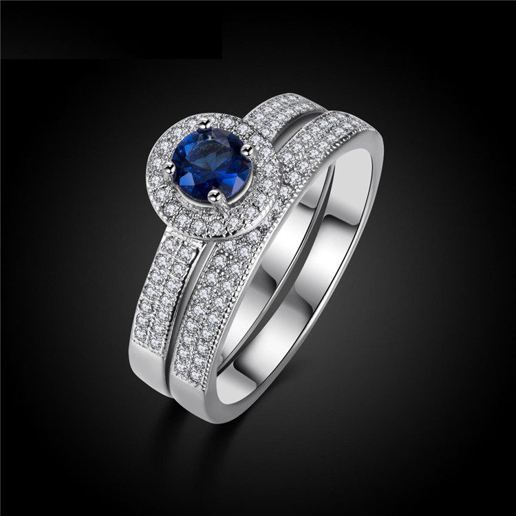 H:HYDE Hot Silver Color Blue Stone Ring set for Women CZ Fine Jewelry Ring Wedding Fashion Ring 2 pieces
