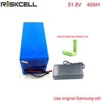 DIY 51,8 вольт 1500 Вт 40ah литий ионный аккумулятор с зарядным устройством + BMS 52 В 40ah литиевых батарей для samsung ячейки