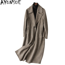 AYUNSUE Woman Wool Coat 2018 England Style Double sided Women's Cashmere Coats Plaid Autumn Winter Jacket Women 37135 WYQ1198(China)