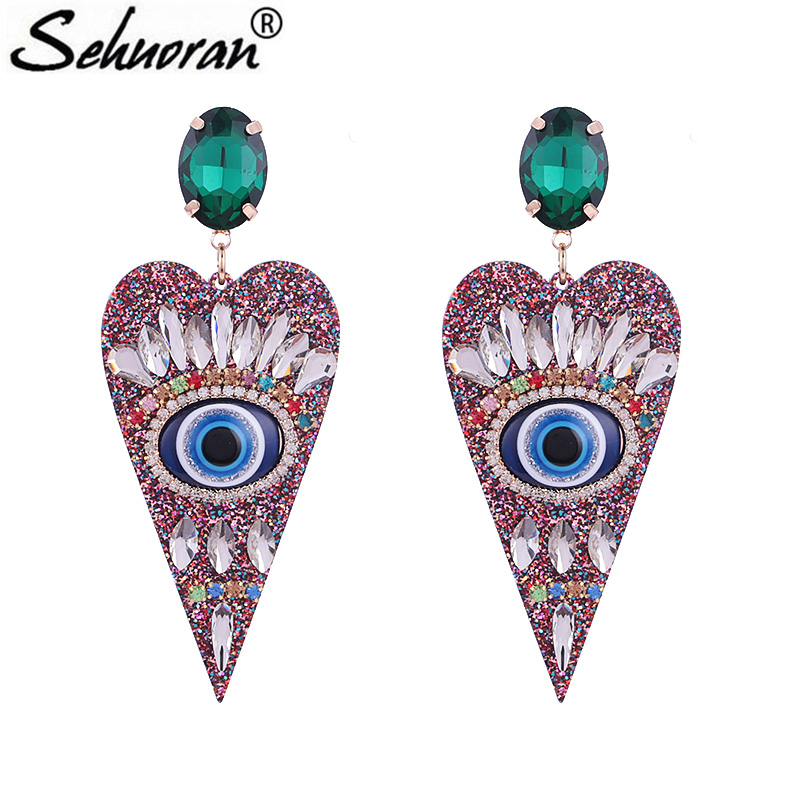 Sehuoran Brincos Aretes De Mujer Big Pendientes Resin Heart Mathc Crystal And Angles Eye Oorbellen Earrings For Woman Jewelry Sehuoran Brincos Aretes De Mujer Big Pendientes Resin Heart Mathc Crystal And Angles Eye Oorbellen Earrings For Woman Jewelry