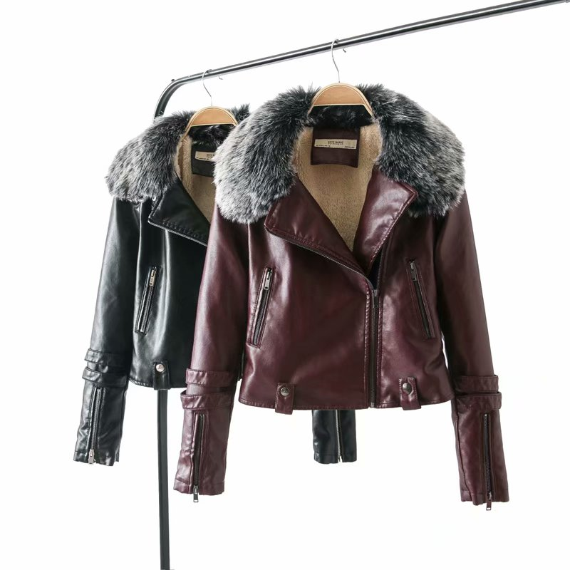 2019 Winter Faux Lamb   Leather   Jacket Women Faux   Leather   Lambs Wool Fur Collar Winter Jacket Coats Female Warm Thick Outerwear