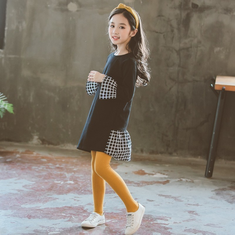 flare sleeved teen girls dresses 2018 black big kids princess dress o neck long sleeve tops autumn winter spring casual clothes long sleeve flare choker dress