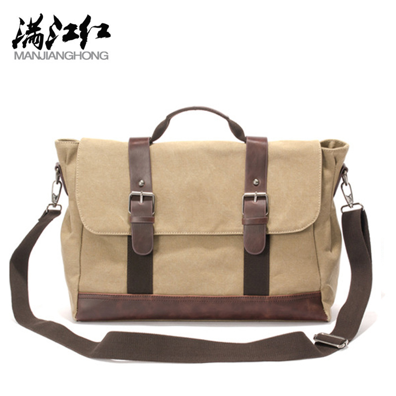 MANJIANGHONG NEW men's shoulder bag men canvas crossbody bag casual canvas shoulder bag male solid messenger bag canvas handbag