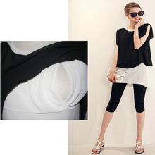 New Summer Clothes Lactation After The Split   Short-Sleeved T-Shirt Feeding Breastfeeding Clothes O-Neck Leave Two Chiffon Top
