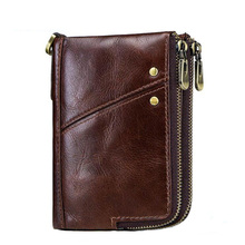 Western Anti-theft Brush Genuine Leather Men Wallet Multifunctional Double Zipper Cow Leather Men Purse