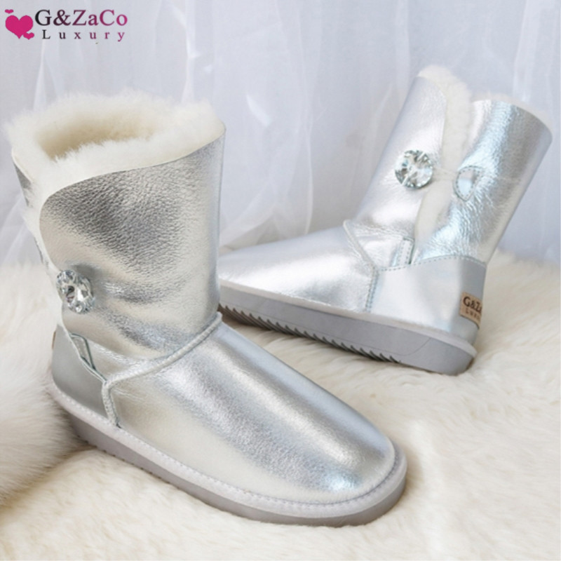G&Zaco Luxury Winter Fur Boots Australia Sheepskin Snow Boots Natural Wool Mid Calf Boots Crystal Button Non slip Womens Boots
